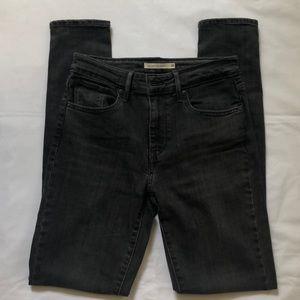 Black-Gray 721 Levi's High Rise Skinny Jeans Sz 26